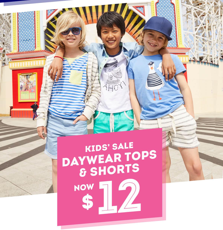 Kids' Sale Daywear Tops & Shorts Now $12